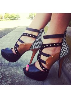 Mixed pattern platform heels... I would pair these with basic black SummerSox for total perfection