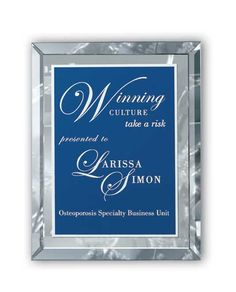 Clear Mirror Glass Plaque 11x14
