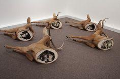 The Gathering - 2009 (Polyurethane, cow hide, canvas, wood, epoxy clay, enamel, bone, cotton, embroidery floss.) David Ross Harper