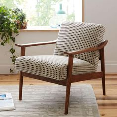 Living room chairs - MidCentury Show Wood Chair, Twisted Slub, Feather Gray, Pecan at West Elm Chairs Seating Home Furni Living Room Chairs, Living Room Furniture, Modern Furniture, Home Furniture, Furniture Design, Furniture Ideas, Dining Chairs, Antique Furniture, Lounge Chairs