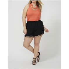 Lane Bryant Plus Size Short with Tassles ($20) ❤ liked on Polyvore featuring shorts, black, plus size, plus size short shorts, lane bryant, womens plus size shorts, plus size shorts and short shorts
