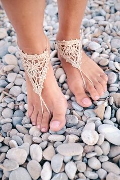 Gold Barefoot sandals, Nude sandals, Foot jewelry, Lace shoes, Beach shoes, Bridal party, Wedding accessory, footless sandals, crochet shoes by TheKnitPanda on Etsy