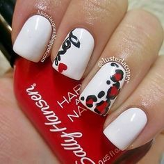 nail designs red black and white - Google Search