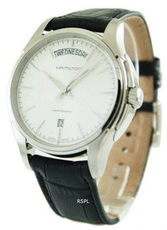 Lowest prices great selection on watches like Hamilton American Classic Jazzmaster Men's Watch it has Stainless Steel Case, Black Leather Strap, Automatic Movement, Caliber: Stainless Steel Case, Hamilton, Watches For Men, Black Leather, American, Classic, Markers, Sapphire, Clock
