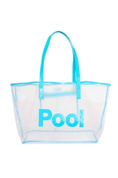"""The perfect beach bag featuring mesh with vinyl detail. Includes one interior zip pocket. Carries all of your beach necessities and more!    Measures14"""" tall, 25"""" wide and 9"""" deep.   Pool Tote by LOLO. Bags - Beach Ready New York"""