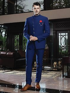 Shop Royal blue jodhpuri suit in solid terry rayon online from India. Indian Wedding Suits Men, Wedding Dress Men, Men's Wedding Wear, Wedding Outfits For Men, Best Wedding Suits For Men, Blazer For Men Wedding, Men's Tuxedo Wedding, Sherwani For Men Wedding, Wedding Coat