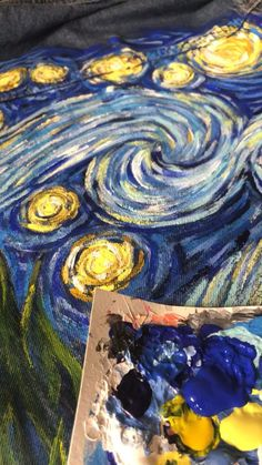 Festival hand painted custom jacket with Van Gogh Starry Night Art Van, Van Gogh Art, Starry Night Wallpaper, Starry Night Art, Stary Night Van Gogh, Stary Night Painting, Van Gogh Pinturas, Painted Clothes, Painted Jeans