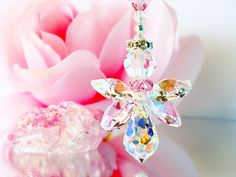 Guardian Angel Suncatcher Car Charm created with Swarovski Light Pink, Pink Rosalin and Aurora Borealis Crystals.