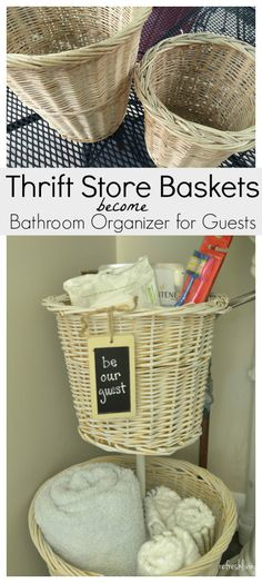 Old baskets can be attached to a dowel rod to create a tiered organizer that fits perfectly under a pedestal sink.