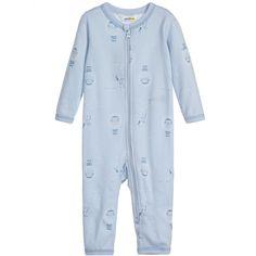 Joha Blue Arctic Print Cotton & Wool Onesie