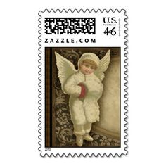 Winter Angel Victorian Postage Stamp