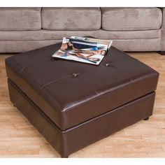 With charming aesthetics and functional, multi-use charm, Bombay brings you their Kinston ottoman. Wrapped in rich, chocolate bonded leather, their ottoman highlights a tufted top with baseball stitching.