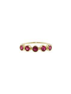Five Ruby Bezel Ring