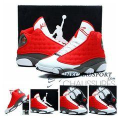 sports shoes 04e8c 54ddc Nike Air Jordan 13   Classique Chaussure De Basket Homme Cuir Rouge Blanche  Chaussures De Basket