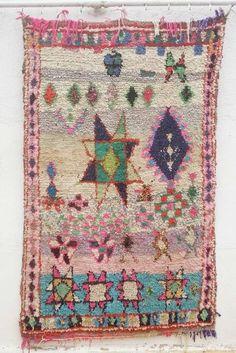Gorgeous Vintage Moroccan Boucherouite RUG Carpet Pink Great Condition 1 1 X 1 8 | eBay