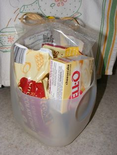 A Simple Milk Jug Gift Basket just enough to make someone's day.