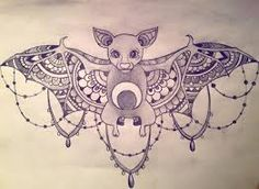 Bat sternum tattoo. Never thought to add patterns to the insides of the wings. Genius! Not sure I'd like mandala patterns, maybe lace or geometric crystalline forms.