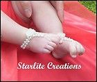 """Baby Barefoot Sandals """"DAISY"""" White Pearl & Swarovski AB Crystal Weave 1 pair"""