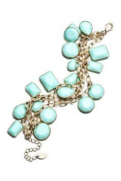 Danielle Stevens Turquoise Glass Charm Bracelet