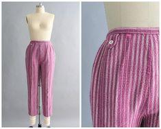 woven fuchcia pants vintage 1950s high waist tapered pants