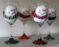 Snowman Wine Glasses set of 4. by lstaubin on Etsy, $55.00
