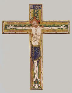 Central Plaque of a Cross, ca. 1185–1195 French; Made in Limoges Gilded copper with champlevé enamel; 14 5/8 x 11 13/16 in. (37.2 x 30 cm) Gift of J. Pierpont Morgan, 1917 (17.190.409a)