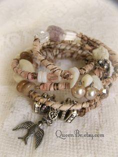Vintage Gypsy Bangle Bracelet Stack Wire Wrapped Gypsy Bracelets  by QueenBe