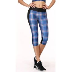 3D Digital Print Plaid Print Capri Women Sport Legging Fitness Legging High Quality High Waist 1042