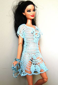 BARBIE HANDMADE KNIT/CROCHET TURQUOISE BEACH COVER UP/DRESS/TUNIC & NECKLACE