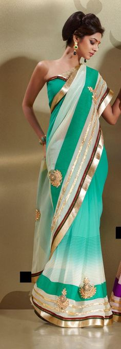 Teal Blue Faux Georgette Embroidery Saree 15948 With Unstitched Blouse