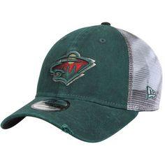 Men's New Era Green/White Minnesota Wild Team Rustic Trucker 9TWENTY Adjustable Snapback Hat