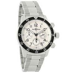 BELL & ROSS PILOT MENS SWISS CHRONOGRAPH AUTOMATIC WATCH BR-PS-S-WH-BR