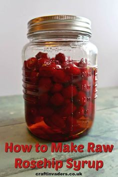 Raw rosehip syrup is a no-cook rosehip syrup recipe that uses sugar to draw the juice from the fruit resulting in a thick, delicious syrup. Gin Recipes, Cooking Recipes, Rosehip Syrup, Garlic Chips, Cordial Recipe, Vegetable Crisps, Homemade Syrup, Wild Garlic, Crisp Recipe