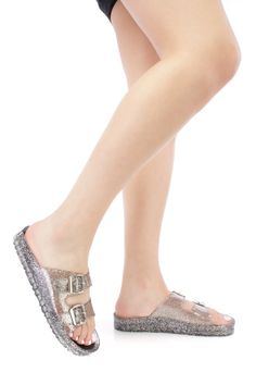 Black Strappy Slip On Jelly Sandals Glitter PVC