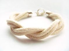 Twisted Natural Rope Bracelet with Silver Toggle