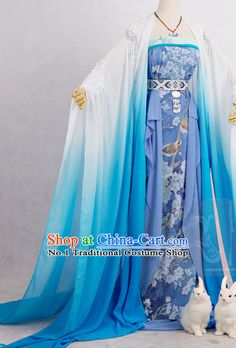 Color Transition Blue White Princess Cosplay Costumes Complete Set