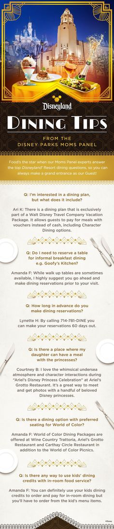 Food's the star when the Disney Parks Moms Panel experts answer the top Disneyland Resort dining questions.