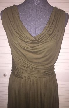 Deletta Anthropologie Olive Green Draped Sleeveless Lined Dress Large #Deletta #Draped