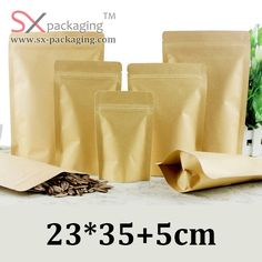 23cm * 35cm resealable zip lock stand up brown kraft paper packaging pouch bag lined aluminium foil