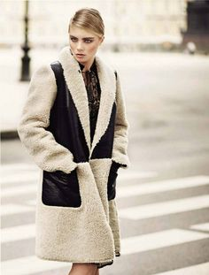 Пальто из чебурашки + декор кожей