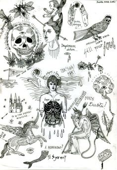 Tatto Ideas 2017 FLASH SHEET / TATTOO DESIGNS / by Izabela Dawid Wolf via Behance