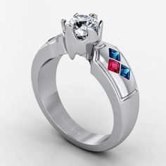 Custom round cut diamond engagement ring with #pink and #blue sapphire gemstones... Do you love? www.brilliance.com/engagement-rings/custom
