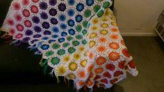 Crochet blanket, rainbow. Gehaakte sprei regenboog.
