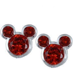 Disney Sterling Silver January Birthstone Garnet Mickey Earrings ($23) ❤ liked on Polyvore featuring jewelry, earrings, jewelry/ piercings, earrings jewellery, disney jewelry, birthstone jewelry, sterling silver earrings and earring jewelry