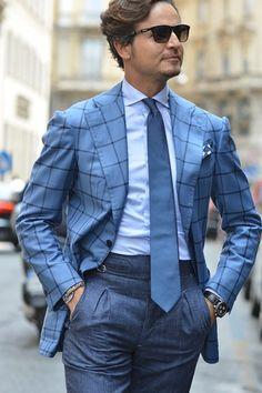 Mr. Raro Windowpane Jacket x Chambray Pants, blue