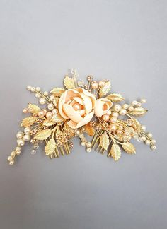Peach flowers Gold Bridal hair comb Gold Bridal headpiece