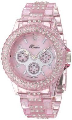 Breda Womens 2333-Pink Courtenay Rhinestone Accented Pink Three-Link Band Watch