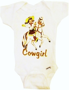 Vintage western cowgirl baby onesie Size nb up to by VintageLucys, $14.00 ---- LOVE!