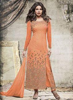 Priyanka Chopra Orange Chiffon Straight Pant Suit