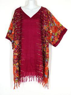New Batik Fringed PLUS SIZE 2X 3X CAFTAN TUNIC HIPPIE BOHO TOP Dark Red Floral